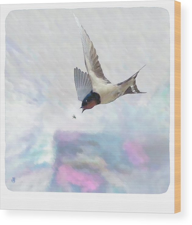 Swallow Wood Print featuring the digital art Encounter by John Helgeson