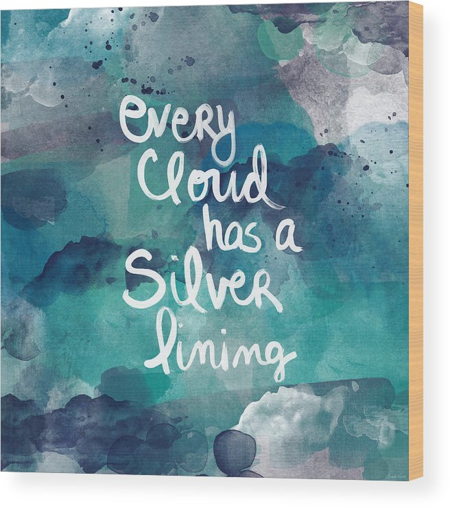 Cloud Wood Print featuring the painting Every Cloud by Linda Woods