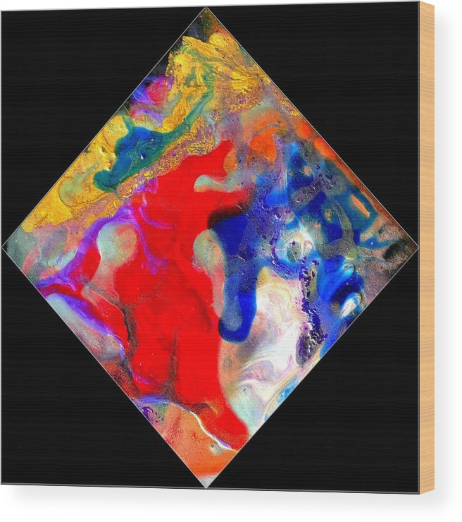 Abstract Wood Print featuring the painting Evolution Series 1007 by Dina Sierra