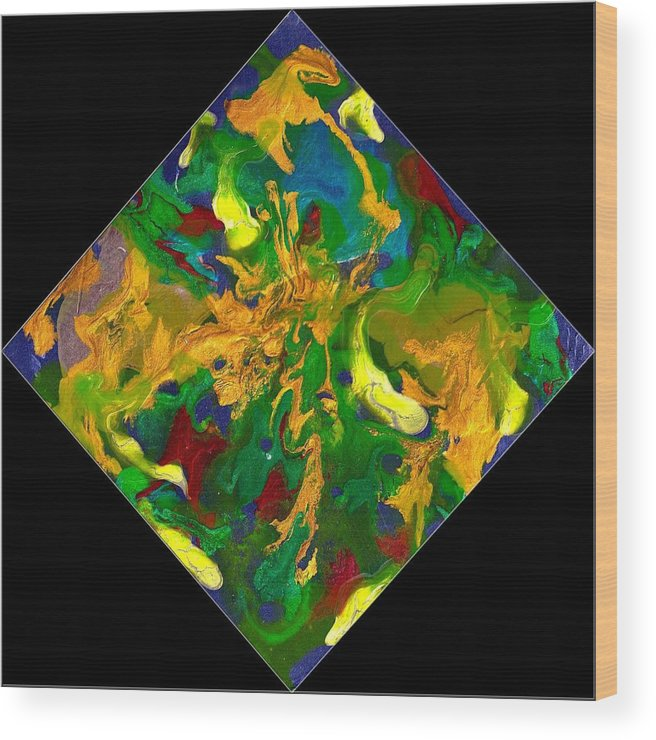 Abstract Wood Print featuring the painting Evolution Series 1008 by Dina Sierra