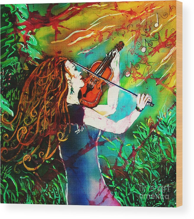 Music Wood Print featuring the painting Fiddling Toward the Sun by Sue Duda
