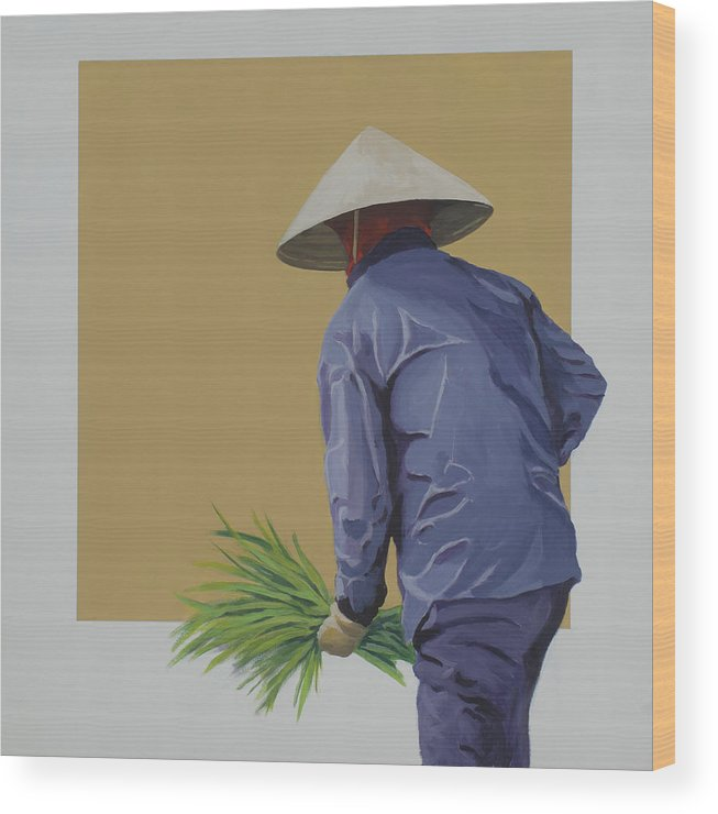 Field Worker Wood Print featuring the painting Field Hand by Marston A Jaquis