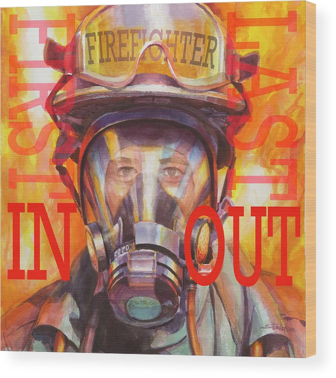 Firefighter Wood Print featuring the painting Firefighter by Steve Henderson