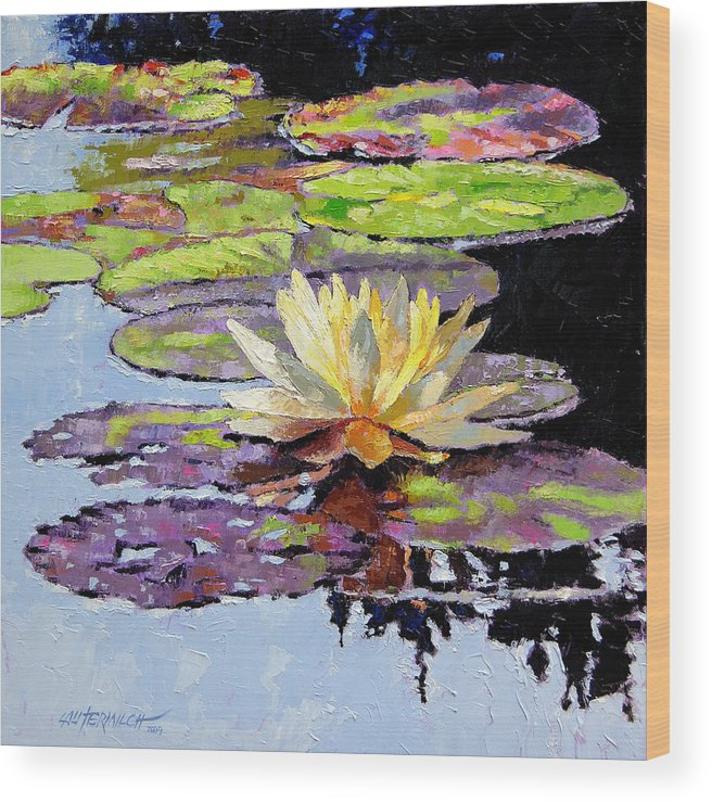 Golden Water Lily Wood Print featuring the painting Floating Gold by John Lautermilch