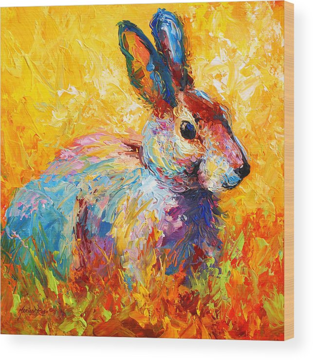 Rabbit Wood Print featuring the painting Forest Bunny by Marion Rose