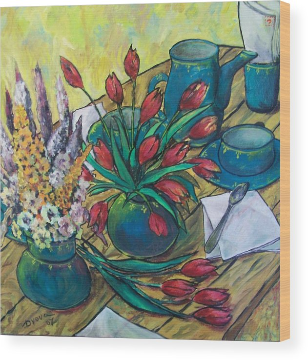 Painting Flowers Wood Print featuring the painting Garden flowers by Vladimir Domnicev
