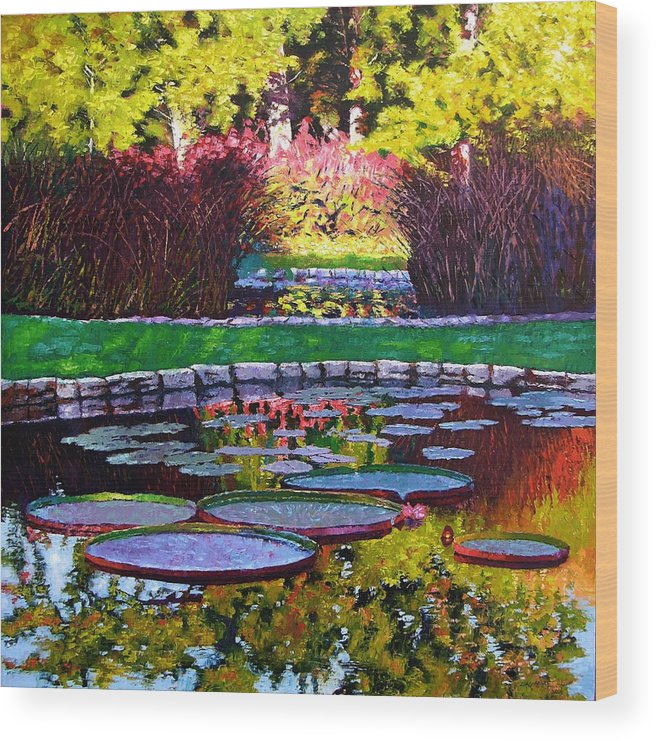 Garden Ponds Wood Print featuring the painting Garden Ponds - Tower Grove Park by John Lautermilch