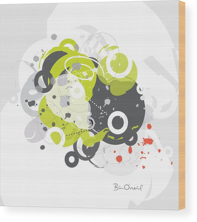 Retro Wood Print featuring the print Gizmo - Retro-Modern Abstract by Bill ONeil