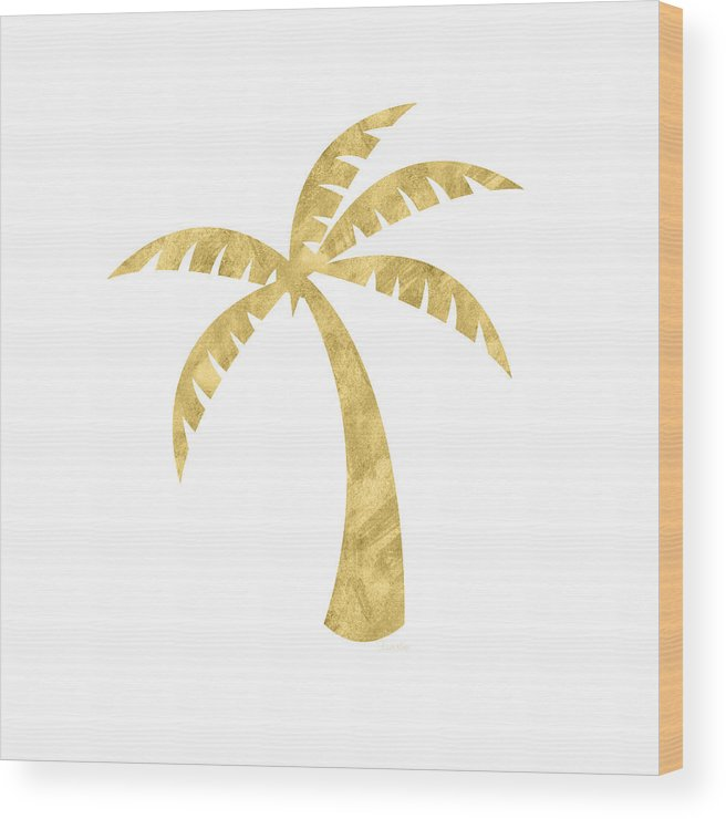 Palm Tree Wood Print featuring the mixed media Gold Palm Tree- Art by Linda Woods by Linda Woods