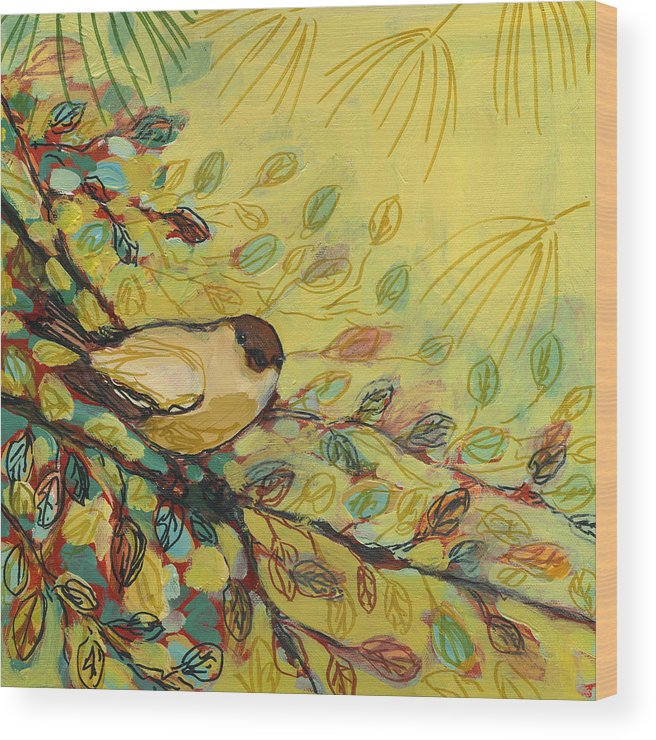 Bird Wood Print featuring the painting Goldfinch Waiting by Jennifer Lommers