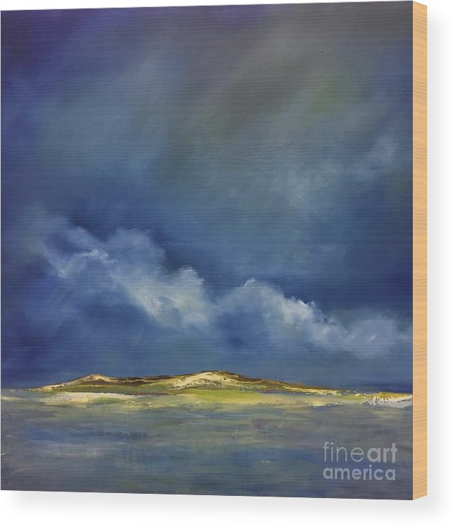 Oil Wood Print featuring the painting Green Island by Fiona Jack