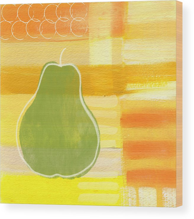Pear Wood Print featuring the painting Green Pear- Art by Linda Woods by Linda Woods