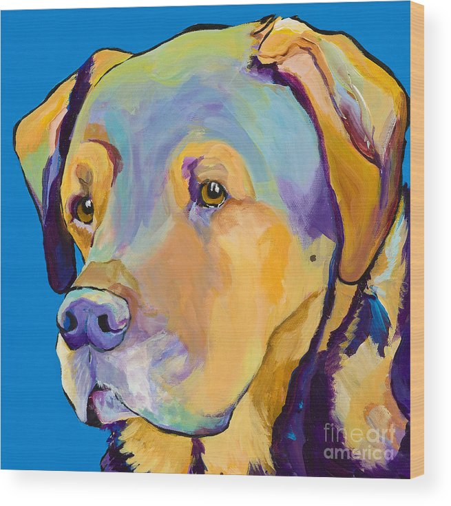 Dog Portrait Wood Print featuring the painting Gunner by Pat Saunders-White