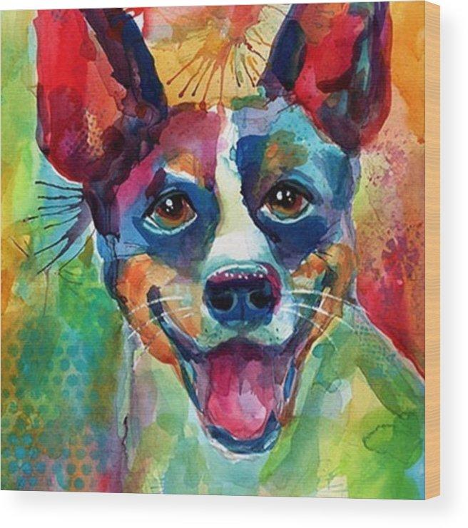 Custompetportrait Wood Print featuring the photograph Happy Rat Terrier Watercolor Portrait by Svetlana Novikova