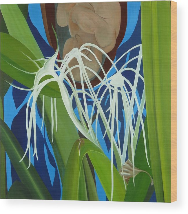 Floral Wood Print featuring the painting Hidden Behind II by Sunhee Kim Jung