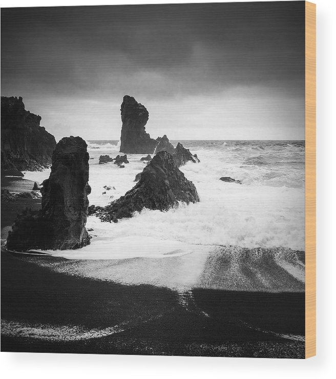Iceland Wood Print featuring the photograph Iceland Dritvik beach and cliffs dramatic black and white by Matthias Hauser