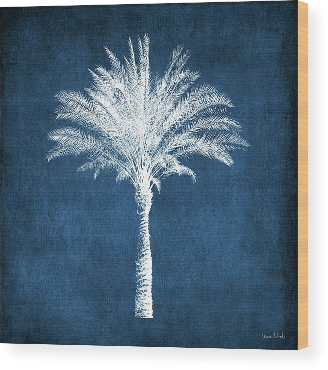Palm Tree Wood Print featuring the mixed media Indigo and White Palm Tree- Art by Linda Woods by Linda Woods