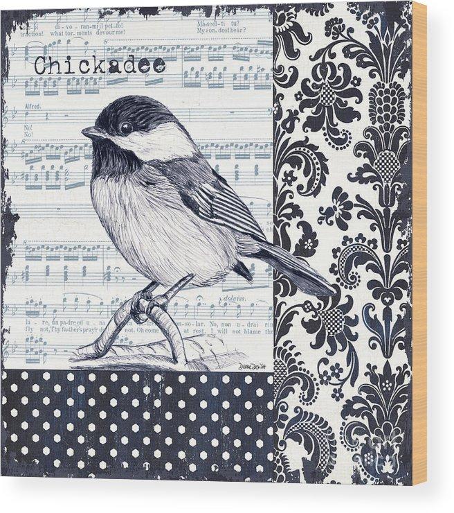 Bird Wood Print featuring the painting Indigo Vintage Songbird 2 by Debbie DeWitt