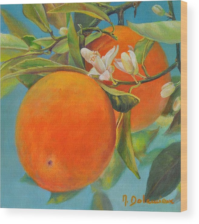 Acrylic Painting Wood Print featuring the painting Jumelles Orange by Muriel Dolemieux