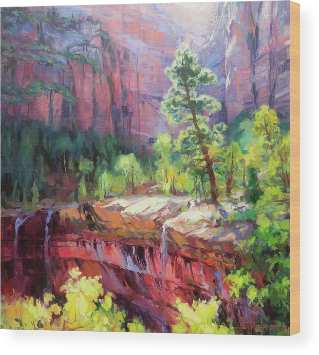 Zion Wood Print featuring the painting Last Light In Zion by Steve Henderson