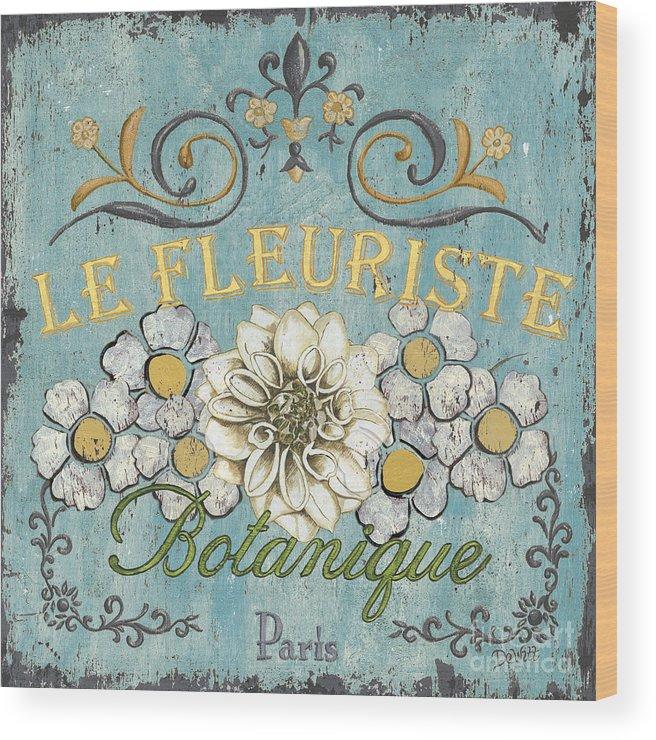 Flowers Wood Print featuring the painting Le Fleuriste de Botanique by Debbie DeWitt