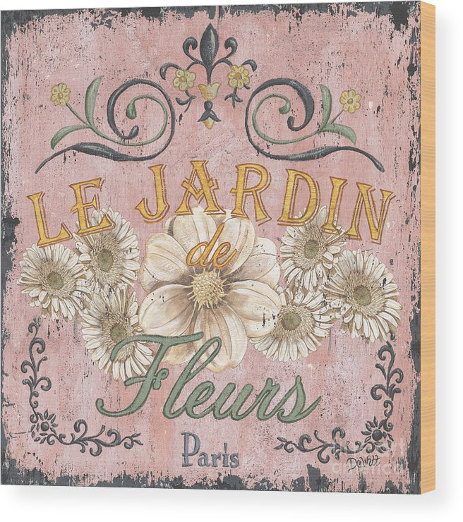 Le Jardin Wood Print featuring the painting Le Jardin 1 by Debbie DeWitt