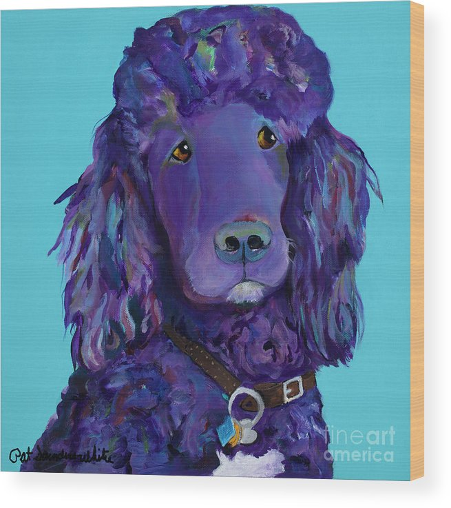 Standard Poodle Wood Print featuring the painting Leo by Pat Saunders-White