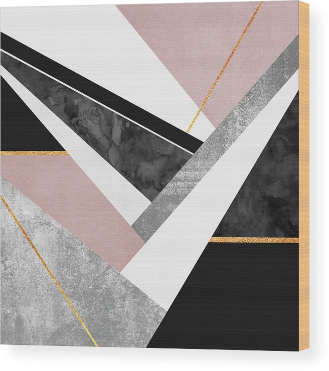 Digital Wood Print featuring the digital art Lines and Layers by Elisabeth Fredriksson