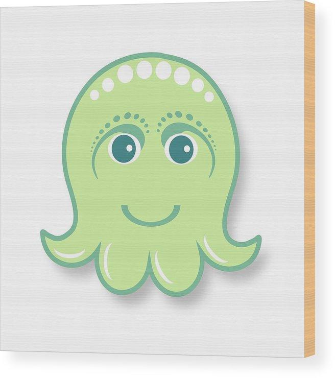Little Octopus Wood Print featuring the digital art Little cute green octopus by Ainnion