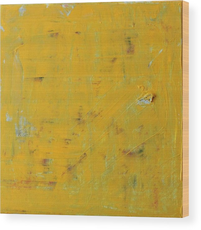 Yellow Wood Print featuring the painting Little Dab Will Do Ya by Pam Roth O'Mara