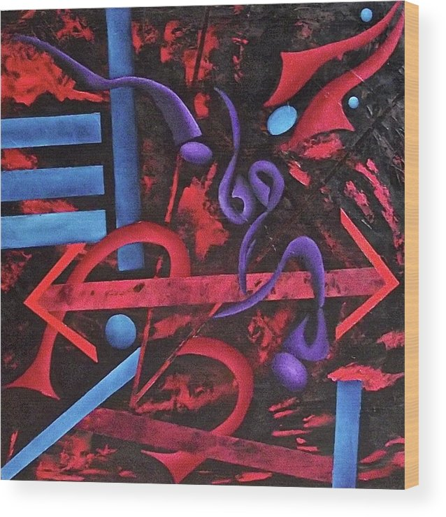 Wood Print featuring the painting Looking for meaning by Ara Elena