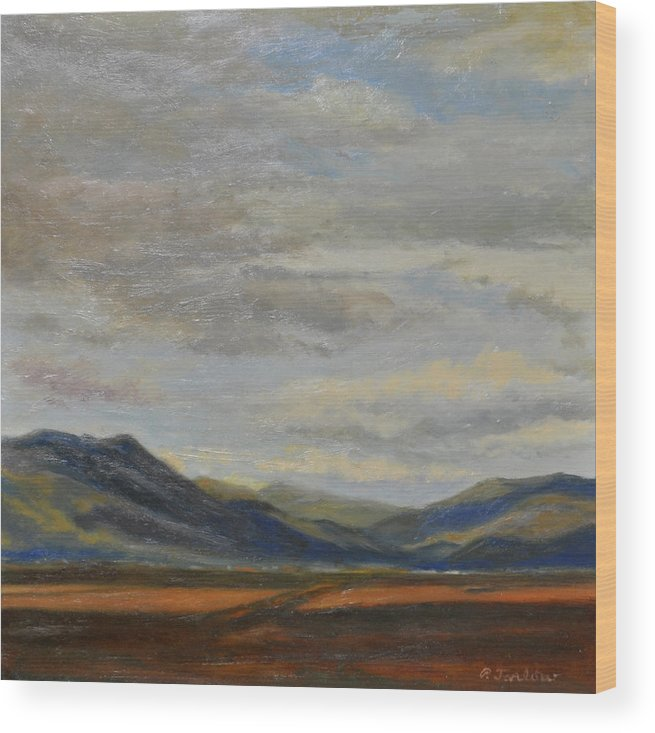 Landscape Wood Print featuring the painting Looking Toward Taos by Phyllis Tarlow