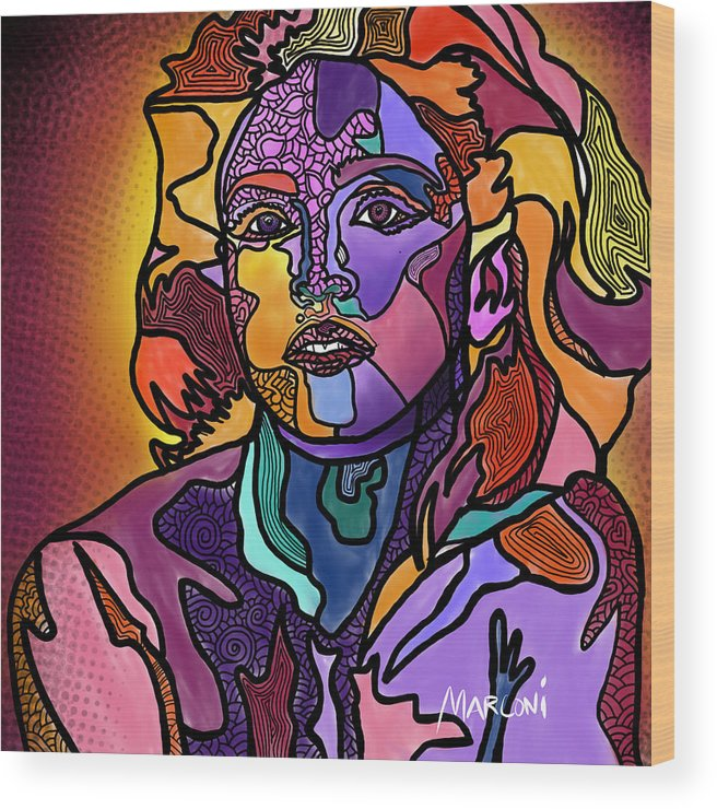 Madonna Wood Print featuring the digital art Madonna The Rebel by Marconi Calindas