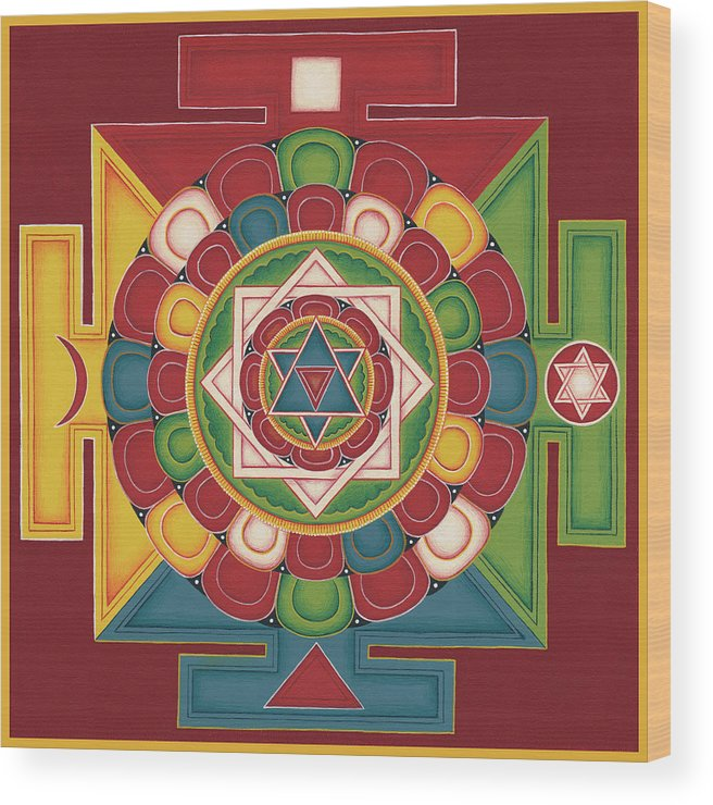 Mandala Wood Print featuring the painting Mandala of the 5 Elements Earth-Water-Fire-Air-Space by Carmen Mensink