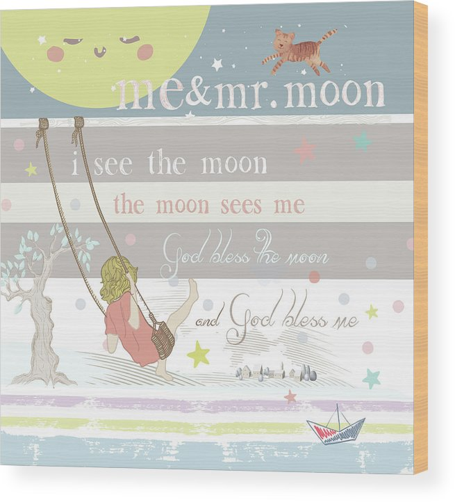 Wood Print featuring the digital art Me And Mr. Moon by Claire Tingen