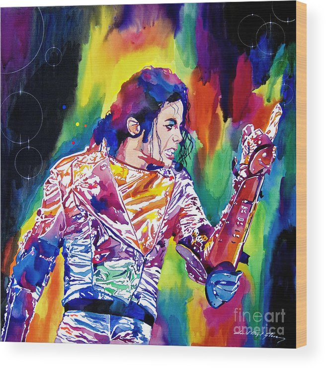 Michael Jackson Wood Print featuring the painting Michael Jackson Showstopper by David Lloyd Glover
