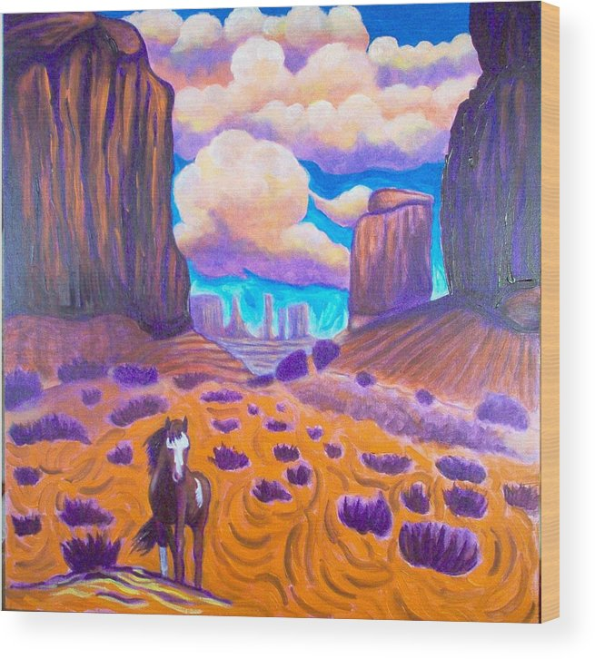 Landscape Wood Print featuring the painting Monument Valley by Steve Lawton