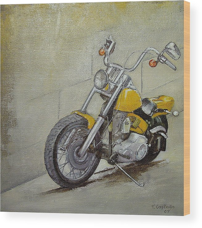 Motorcycle Wood Print featuring the painting Motorcycle by Tomas Castano