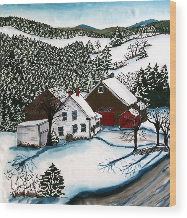 Farm Wood Print featuring the tapestry - textile Old Hutchinson Place by Linda Marcille
