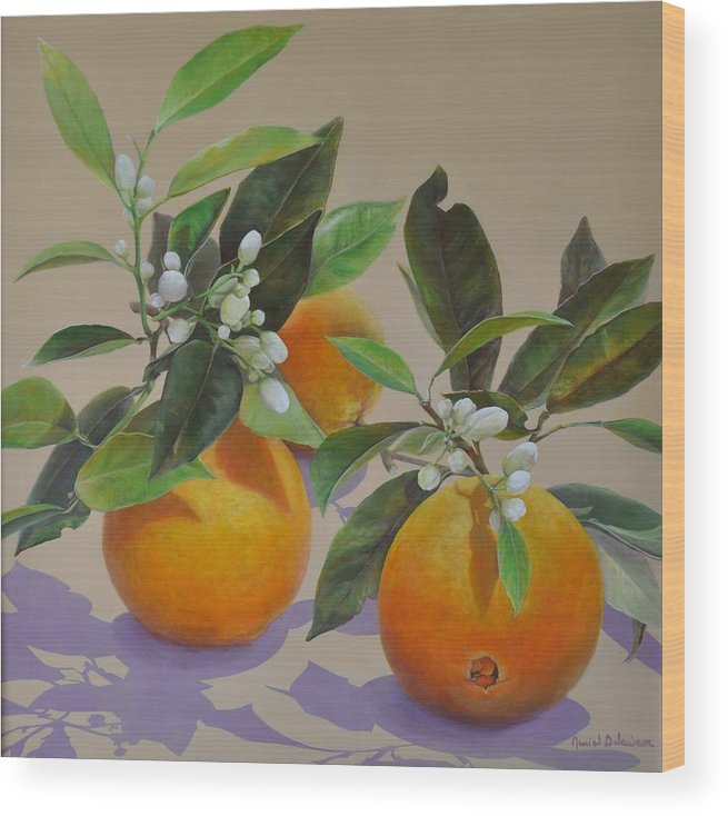 Acrylic Painting Wood Print featuring the painting Ombres Fleuries by Muriel Dolemieux