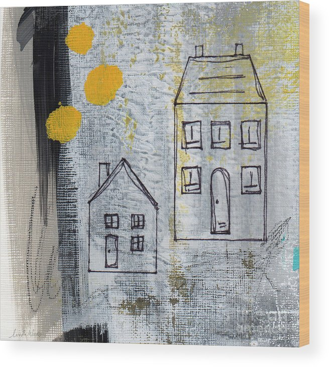 Abstract Wood Print featuring the painting On The Same Street by Linda Woods