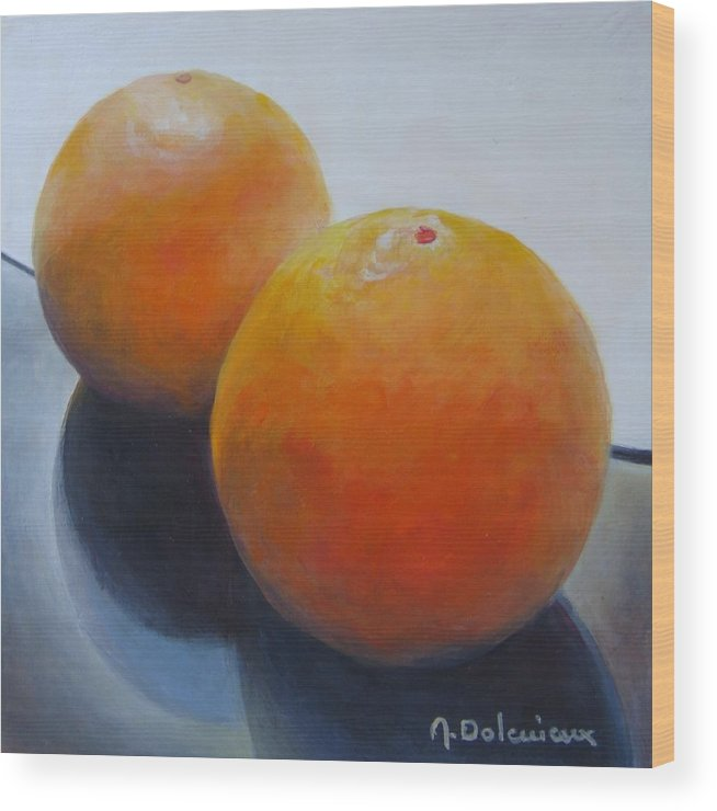 Acrylic Wood Print featuring the painting Orange Noir et Blanc by Muriel Dolemieux