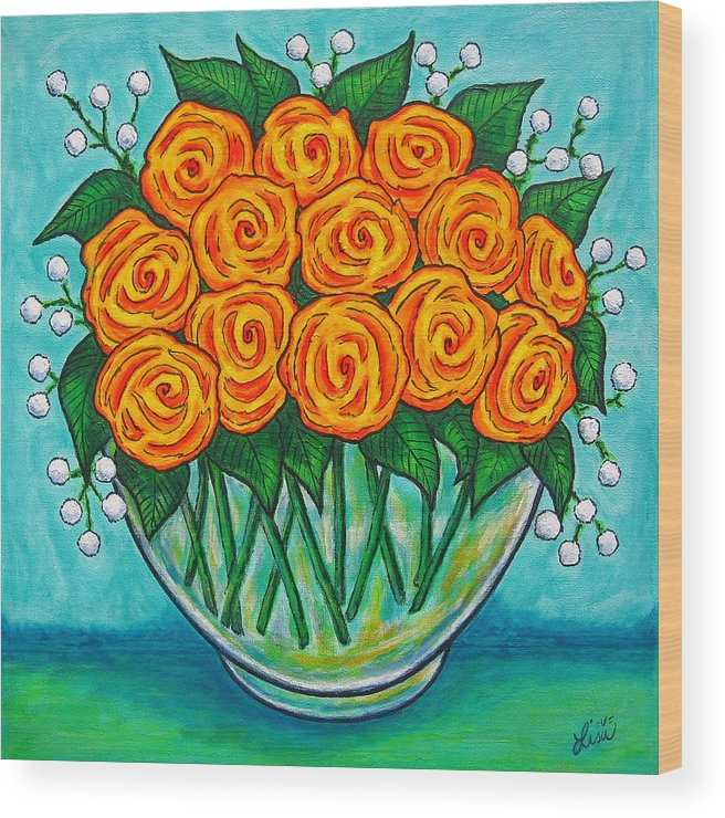 Orange Wood Print featuring the painting Orange Passion by Lisa Lorenz