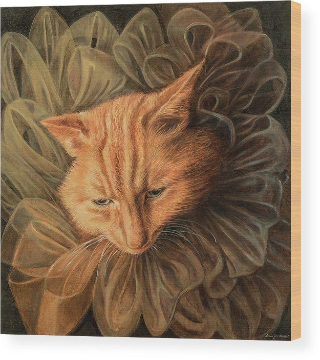 Fashion Illustration Wood Print featuring the painting Orange Tabby by Barbara Tyler Ahlfield