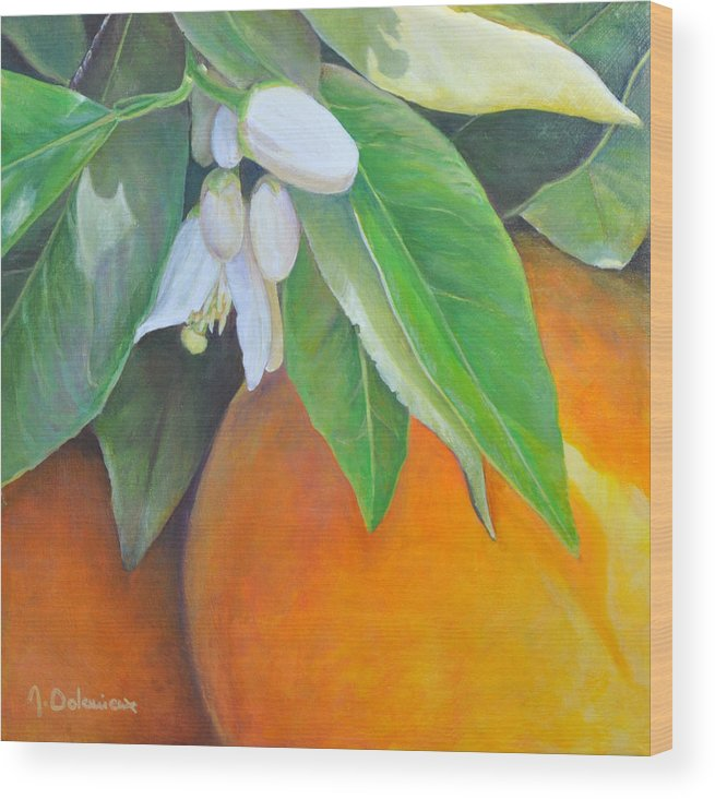 Acrylic Painting Wood Print featuring the painting Oranges et Fleurs by Muriel Dolemieux