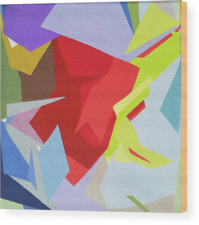 Abstract Wood Print featuring the painting Palette Bananier 1 by Muriel Dolemieux