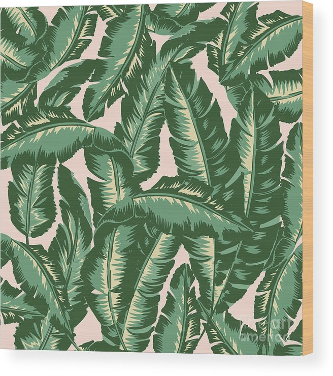 Leaves Wood Print featuring the digital art Palm Print by Lauren Amelia Hughes