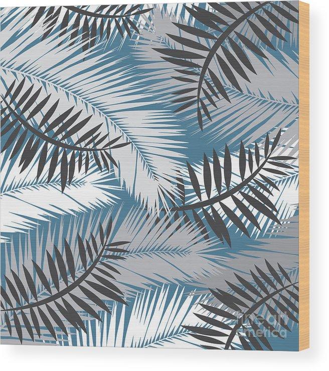 Summer Wood Print featuring the digital art Palm Trees 10 by Mark Ashkenazi