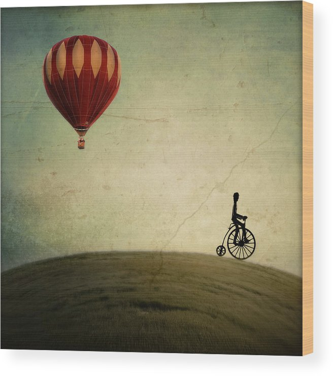 Hot Air Balloon Wood Print featuring the photograph Penny Farthing for Your Thoughts by Irene Suchocki