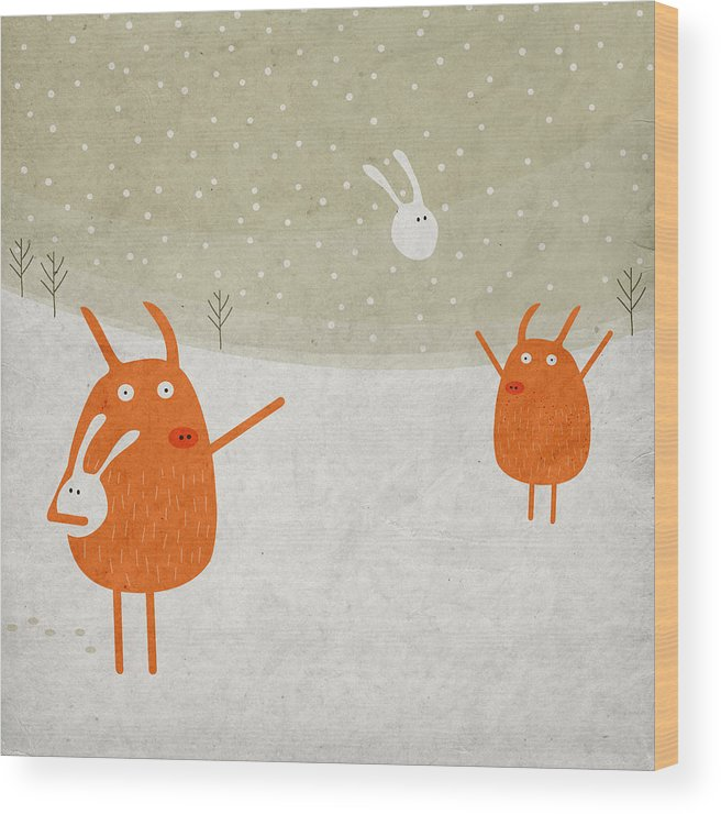Pig Wood Print featuring the digital art Pigs and bunnies by Fuzzorama